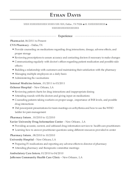 Best Pharmacy Intern Resumes | ResumeHelp