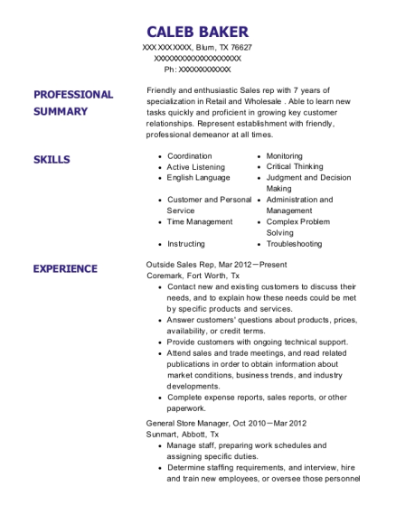 Chick Fil A General Store Manager Resume Sample - Arlington Texas ...