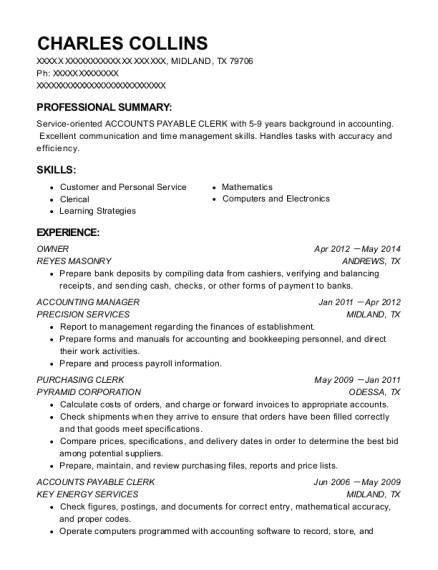 charles collins - Purchasing Clerk Sample Resume