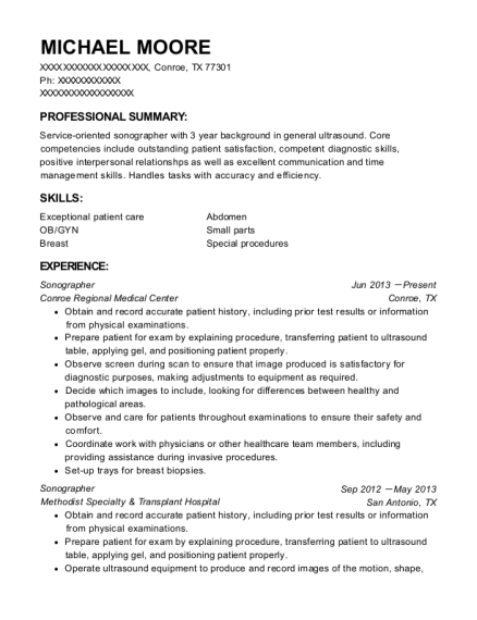 Michael Moore  Sonographer Resume