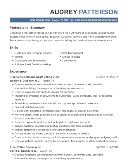 Law Offices Of Charles Hunt Front Office Receptionist Resume Sample ...