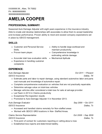 geico insurance company auto damage adjuster resume sample antioch