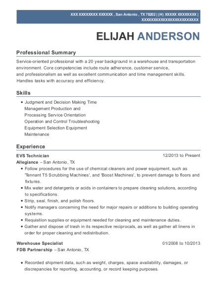Adecco Staffing Warehouse Specialist Resume Sample - Baltimore ...