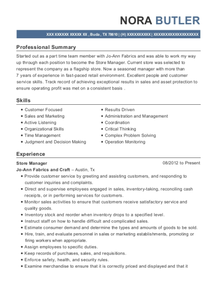 view resume store manager - Skills For Resume Manager Craft Store