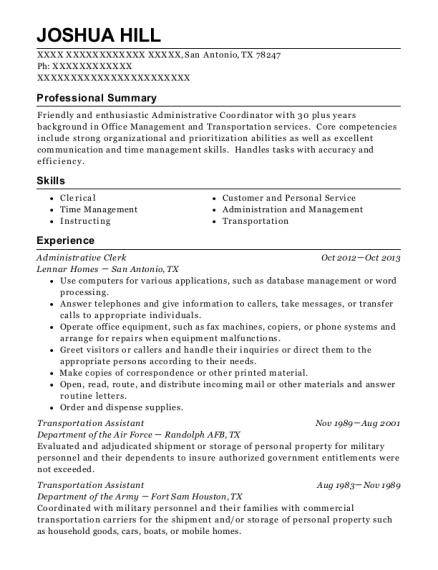 joshua hill - Typist Resume