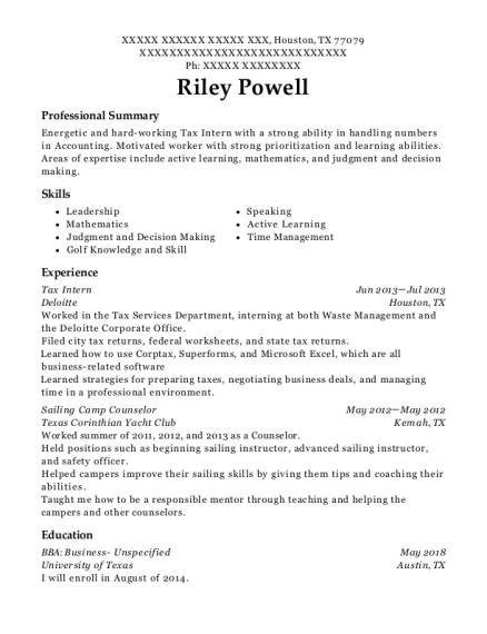 deloitte tax intern resume sample houston texas resumehelp