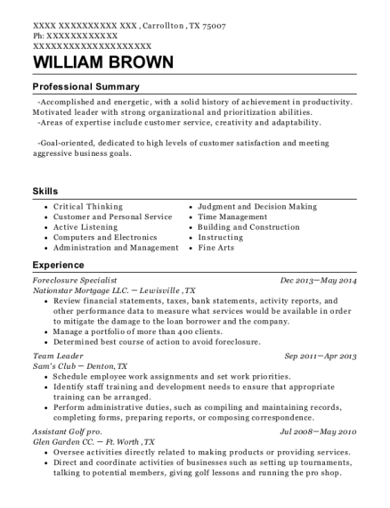 Dovenmuehle Mortgage Foreclosure Specialist Resume Sample ...