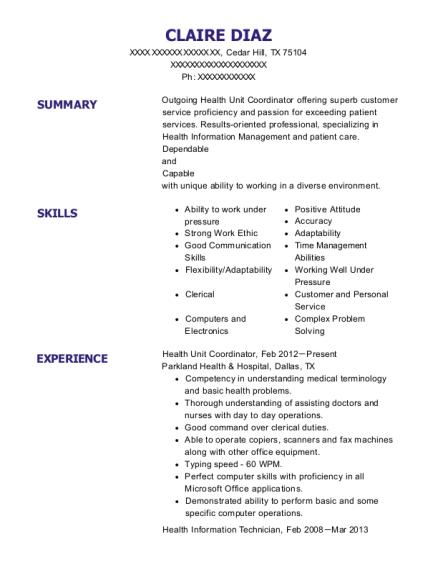 View Resume. Health Unit Coordinator
