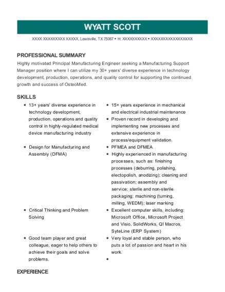 view resume principal manufacturing engineer