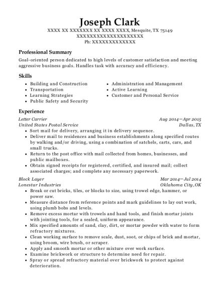 joseph clark - Package Handler Resume