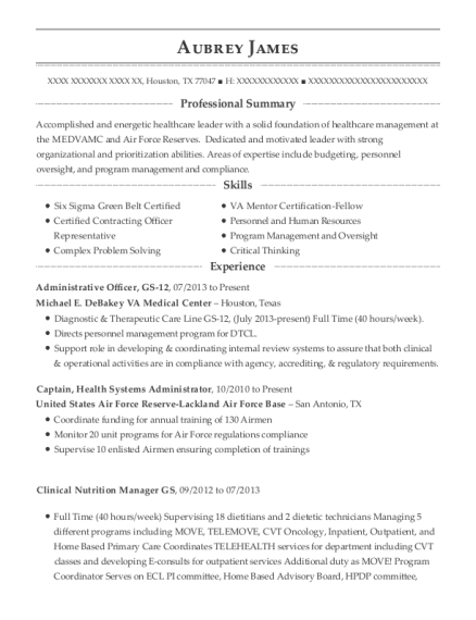 View Resume. Administrative Officer