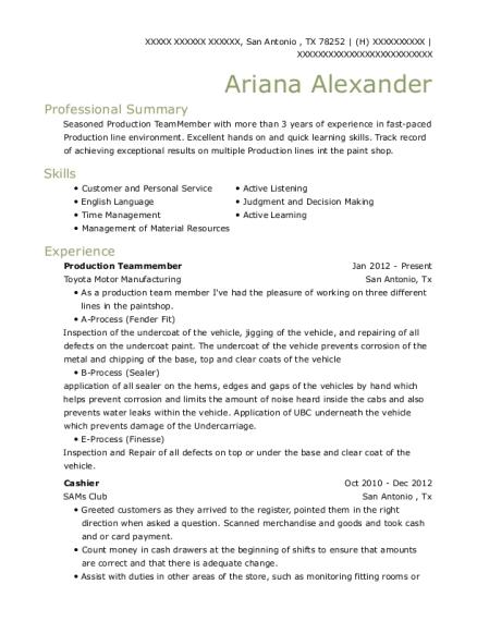toyota motor manufacturing production teammember resume sample san