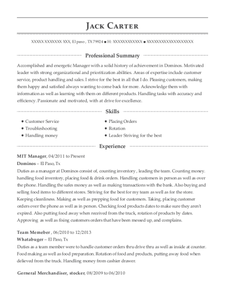 Dominos Mit Manager Resume Sample - El Paso Texas | ResumeHelp