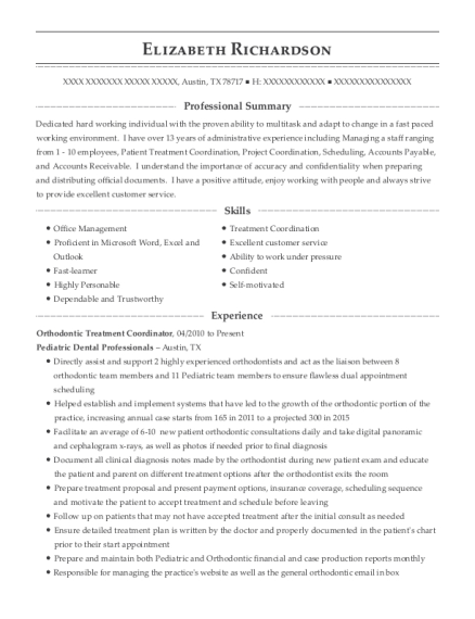 e u0026s orthodontics orthodontic treatment coordinator resume