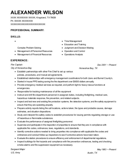 City Of La Verne Fire Captain Resume Sample Rancho Cucamonga