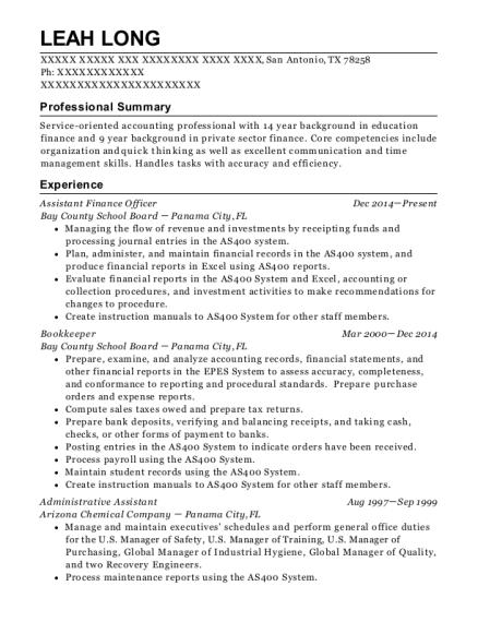 Best Assistant Finance Officer Resumes | ResumeHelp
