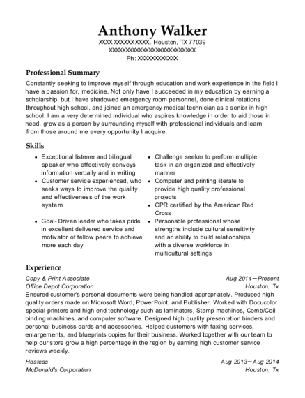 office depot copy  u0026 print associate resume sample