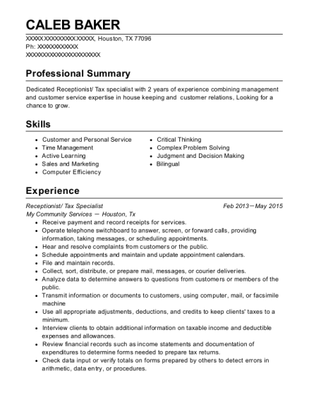 h u0026r block tax specialist resume sample