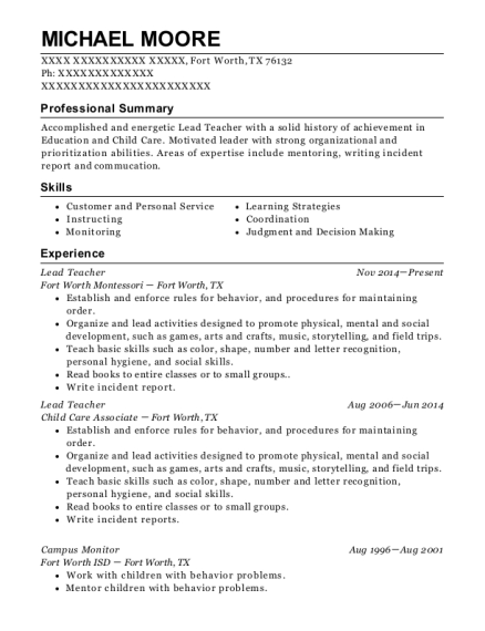 michael moore - Paraeducator Resume Sample