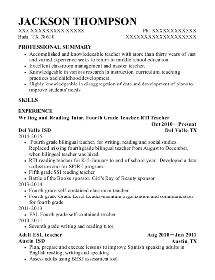 cities - Esl Teacher Resume Examples