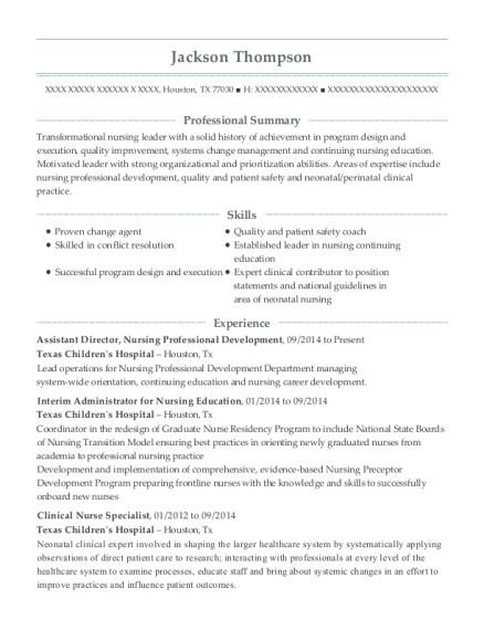 view resume - Sample Clinical Nurse Specialist Resume
