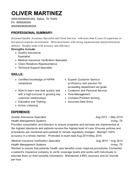 View Resume. Quality Assurance Specialist