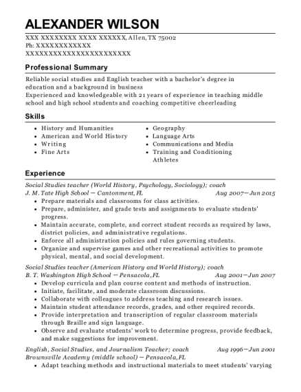 View Resume. Social Studies Teacher