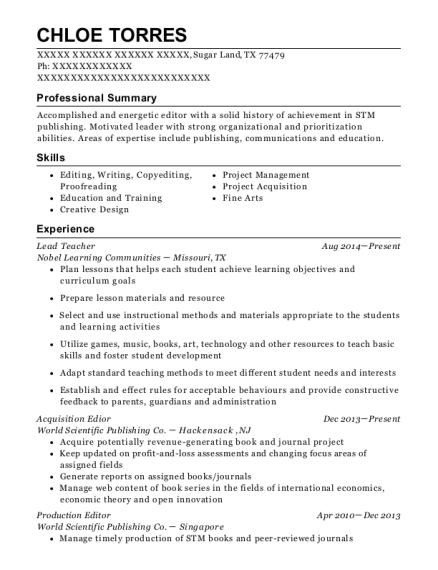 production editor resume