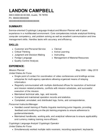 united states air force mission planner resume sample austin texas