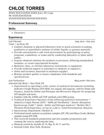 Best Lab Chemist Resumes | ResumeHelp