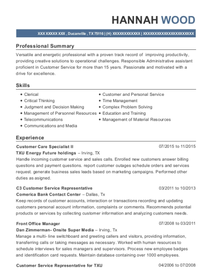 Best Customer Service Representative For Txu Resumes   ResumeHelp