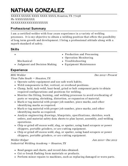 View Resume MIG Welder