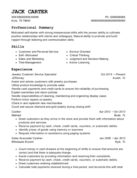 View Resume. Jewelry Customer Service Specialist