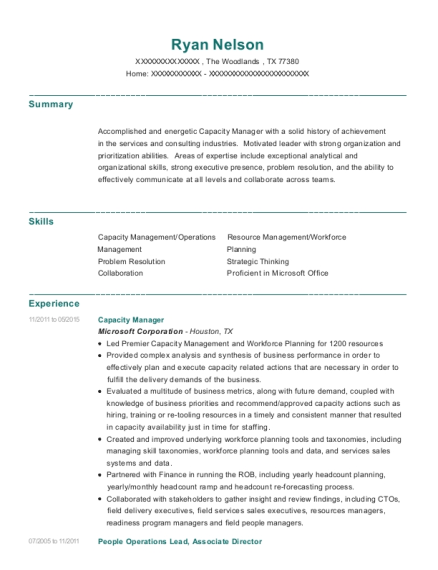 Best Capacity Manager Resumes | ResumeHelp