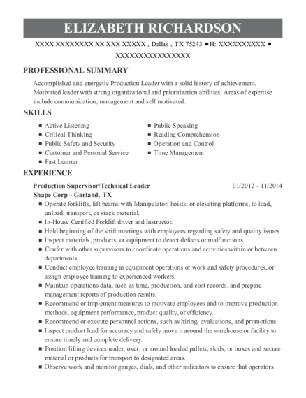 View Resume. Production Supervisor/Technical Leader