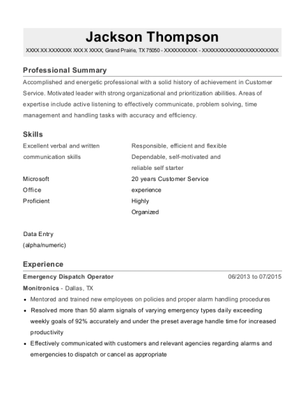 view resume - Dispatch Operator Sample Resume