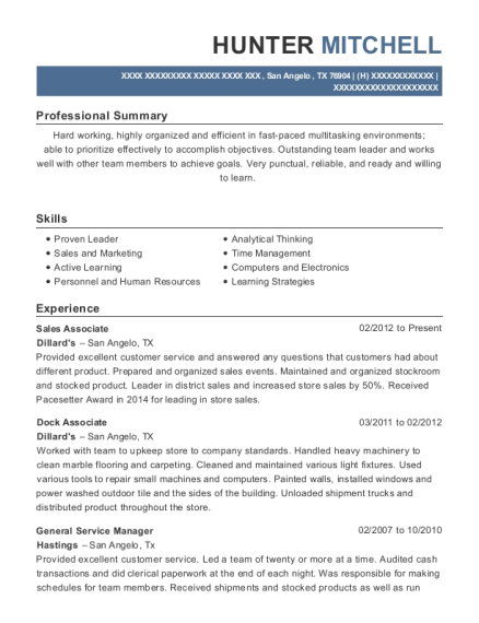 View Resume. Sales Associate