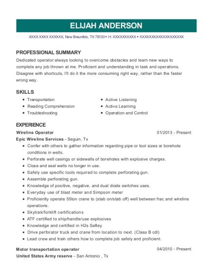 Best Wireline Operator Resumes | ResumeHelp