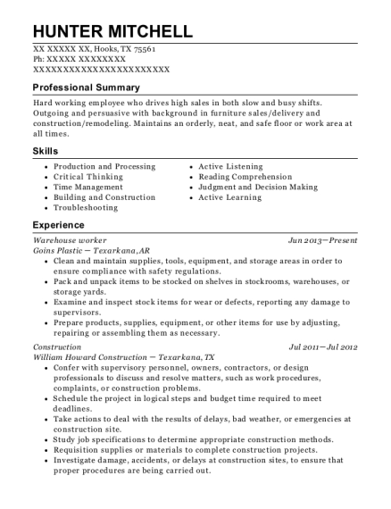 Captivating View Resume. Warehouse Worker