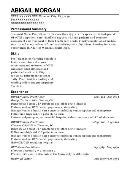 abigail morgan - Ob Gyn Resume