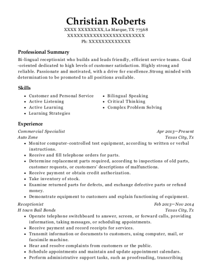 auto zone commercial specialist resume sample