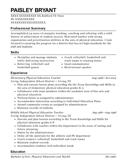 best elementary physical education teacher resumes resumehelp
