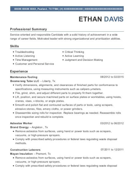 Good Asbestos Worker , Marine Mechanic. Customize Resume · View Resume