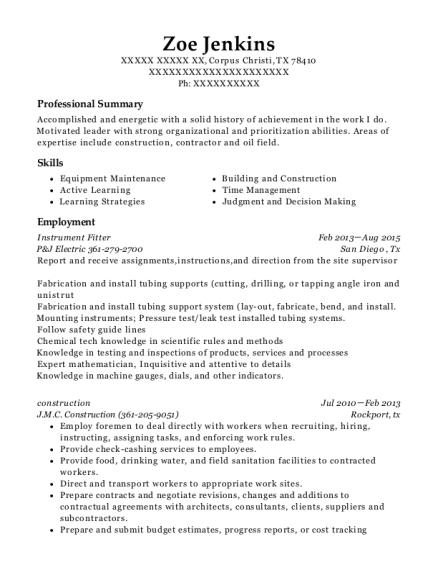 merit constructors instrument fitter resume sample