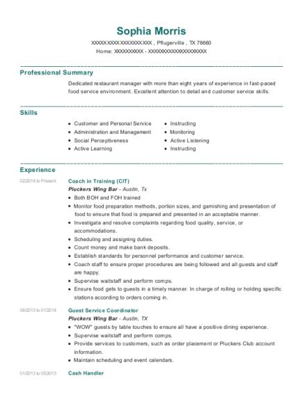 sophia morris - Cash Handling Resume
