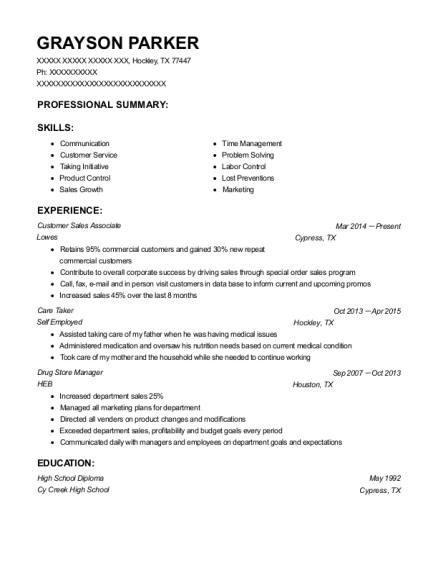walgreens customer sales associate resume sample