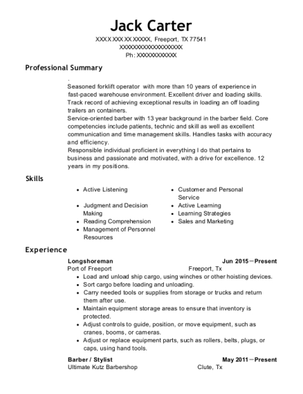 Pacific Maritime Association Longshoreman Resume Sample