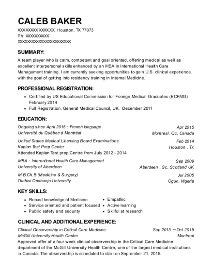 Mcgill university health centre clinical observership in critical view resume yelopaper Images