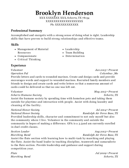 view resume - National Honor Society Resume