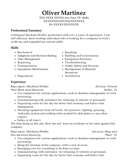 View Resume. Repo Agent /Mechanic/Welder